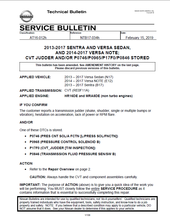 New Nissan Sentra and Nissan Versa CVT Judder TSB — Valero Law, APC