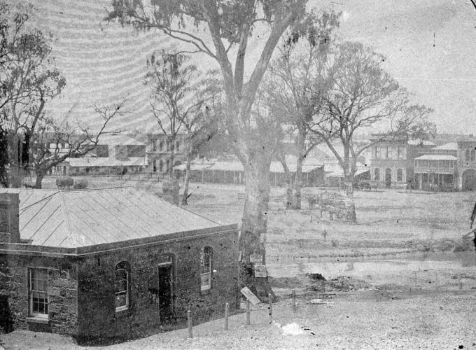 Cottage on Bendigo Creek, A Fox Studio (1857) Source: Museums Victoria