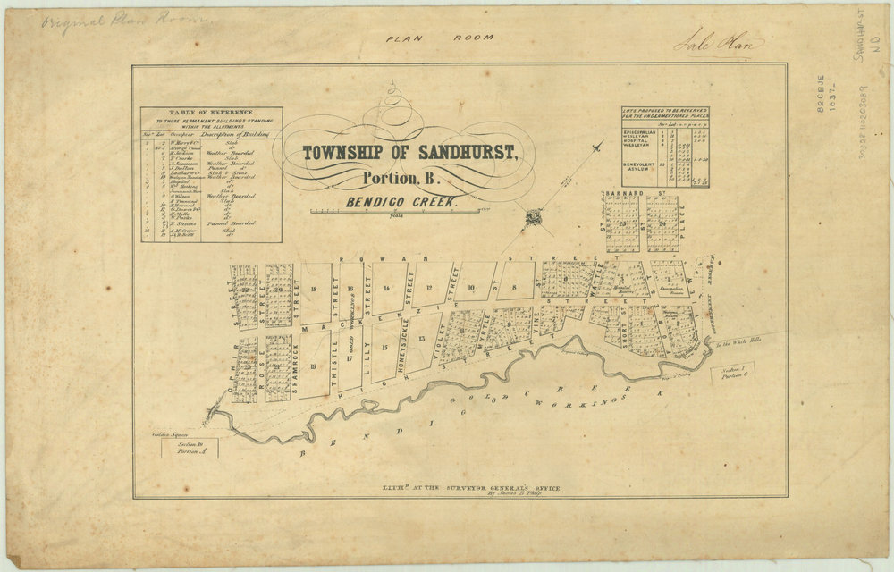 Township-of-Sandhurst,-portion-B,-Bendigo-Creek-[cartographic-material]-_-lith.d-at-the-Surveyor-General's-Office,-Melbourne,-by-James-B.-Philp.-1837.jpg