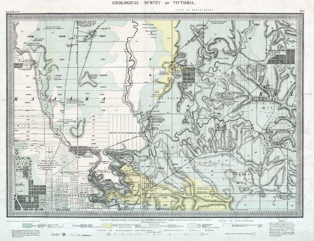 Selwyn, A.R.C., 1859. Quarter sheet 1 NE geological map. Geological Survey Branch Chief Secretary's Department Victoria.