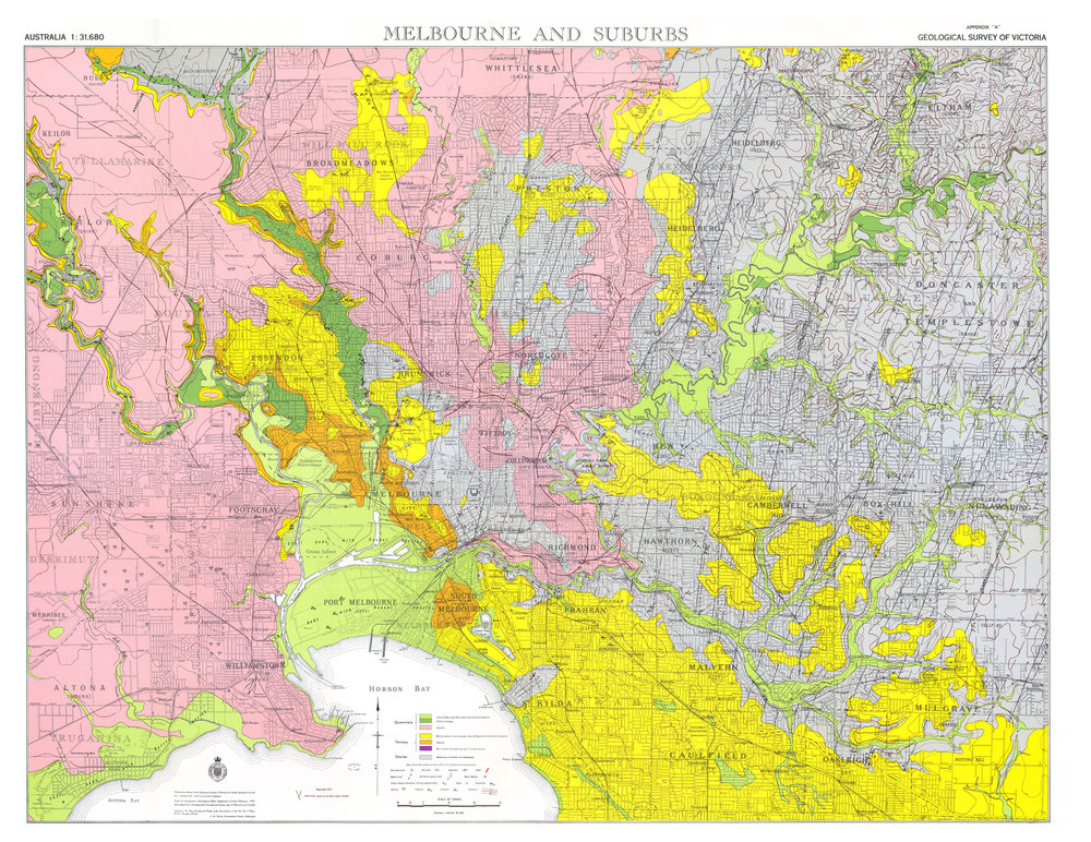 Geological Survey of Victoria (1959), Melbourne & suburbs 40 chains to 1 inch, geological map  Department of Mines, Victoria