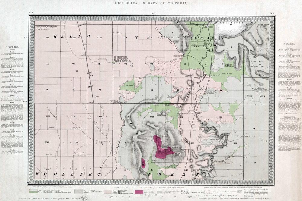 Etheridge, R., 1869. Quarter sheet 2 NE. 1:31 680 geological map. Geological Survey of Victoria.
