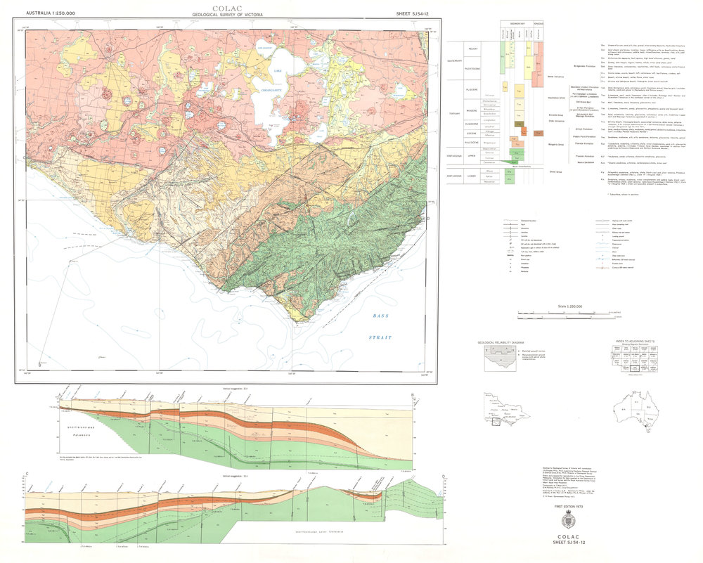 Geological Survey of Victoria, 1973. Colac 1:250 000 geological map. Department of Mines, Victoria.