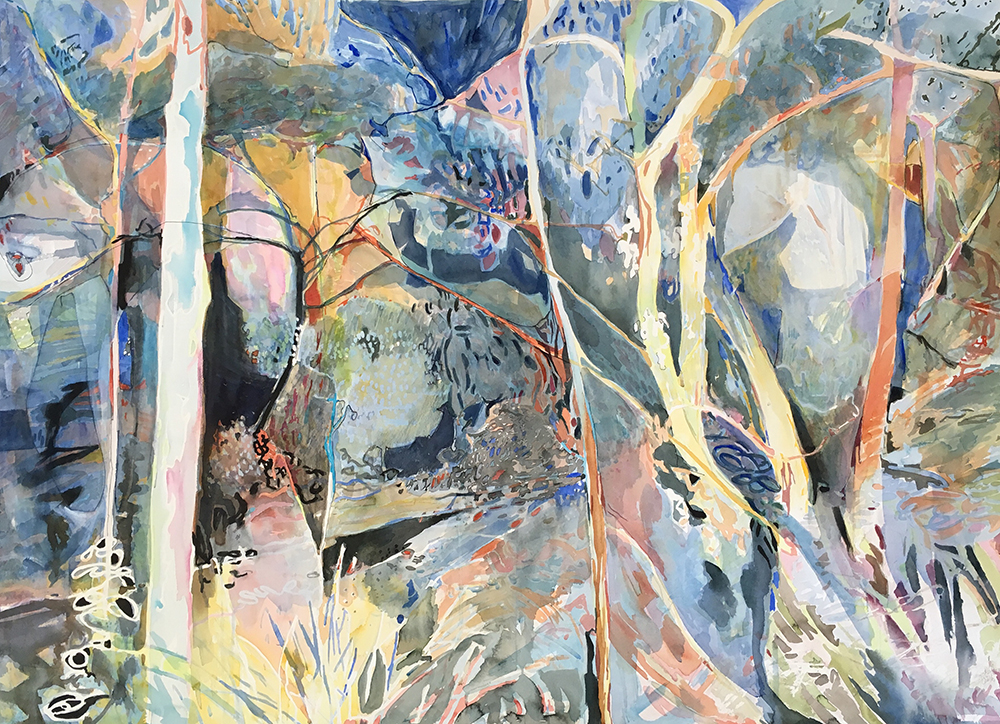 """Fresco""     112cm x 134cm, Watercolour on Cotton paper    Finalist in John Leslie National Prize for Australian Landscape Painting 2016  $4800"