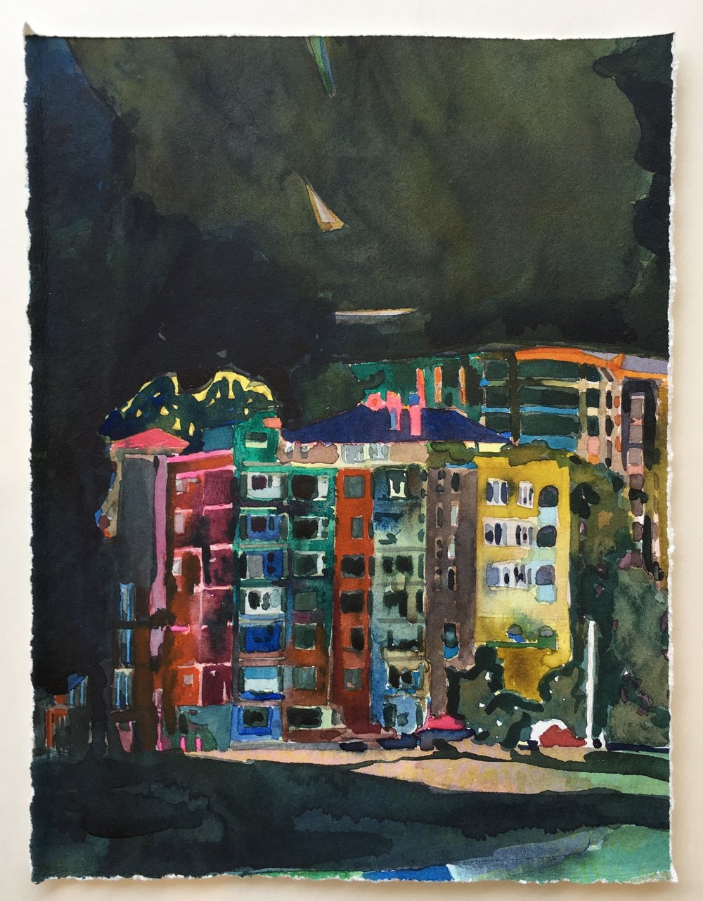 """Urban Night""  $400   SOLD    9.5cmx12cm framed watercolour on Cotton paper  Finalist Little things Art prize 2017"