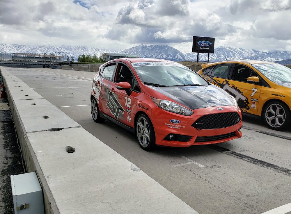 The (my?) #12 Fiesta ST in the hot pits. Shoulda brought a GoPro or my camera crew for something more scintillating.