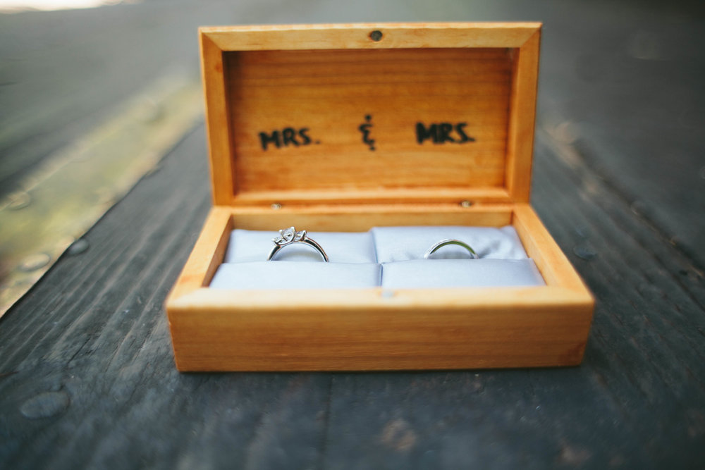 wedding rings resting optimistically in a box, not expecting infertility to be an issue.
