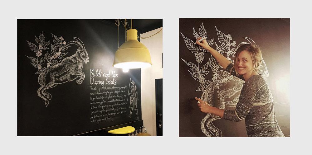 Sweetbrew Coffee Shop Chalk Mural, Launceston Tasmania