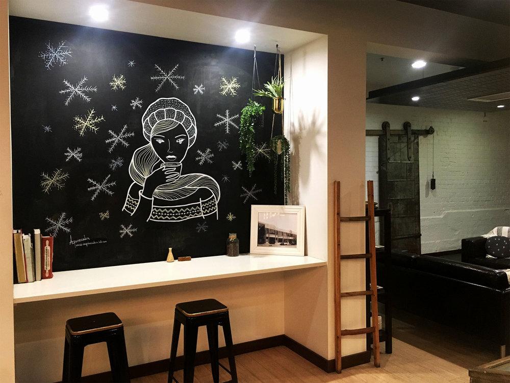 Inside Coffee Shop Chalk Mural, Launceston Tasmania