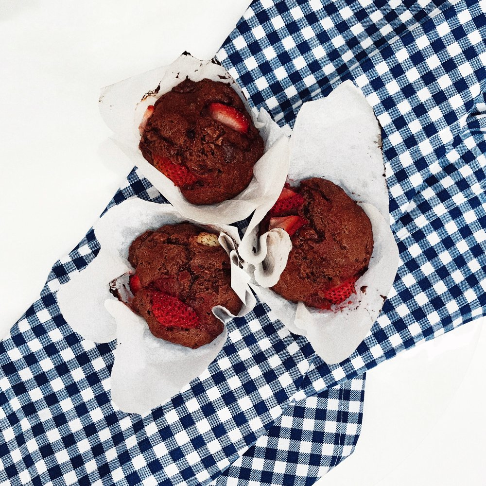 Strawberry and double chocolate muffin