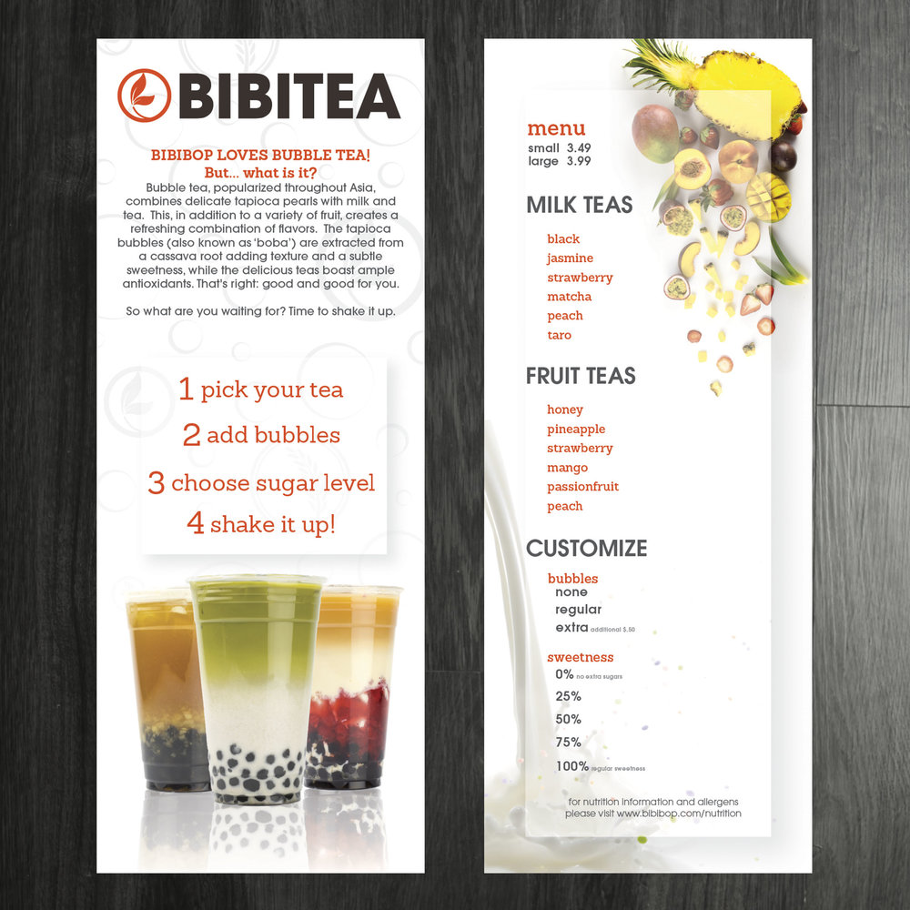 Menu Handouts for BIBITEA. Cups and Fruit styled and shot in house.