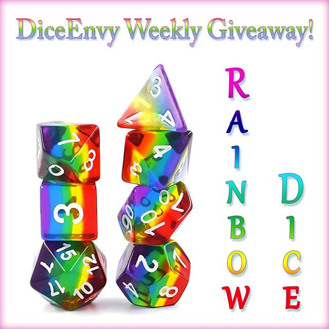 "It's the Weekly Dice Giveaway! This week with Rainbows! 1. Follow us 2. Retweet this post 3. Tag two friends who love dice! Or just email us at David@diceenvy.com to be entered! (subject line ""Instagram Giveaway"") A winner will be announced on Sunday the 27th!"