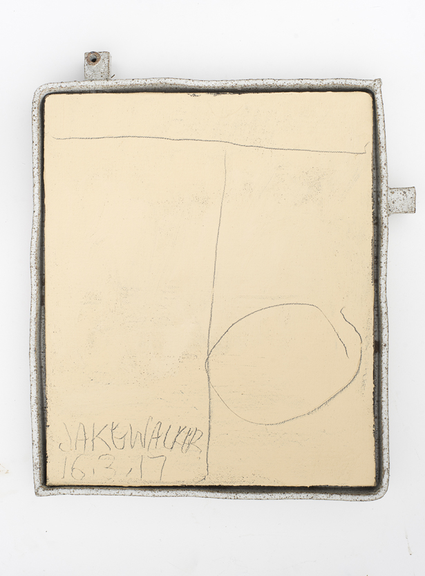 JAKE WALKER #0025 2016–17 acrylic on linen, glazed stoneware frame 52.5 × 45 cm