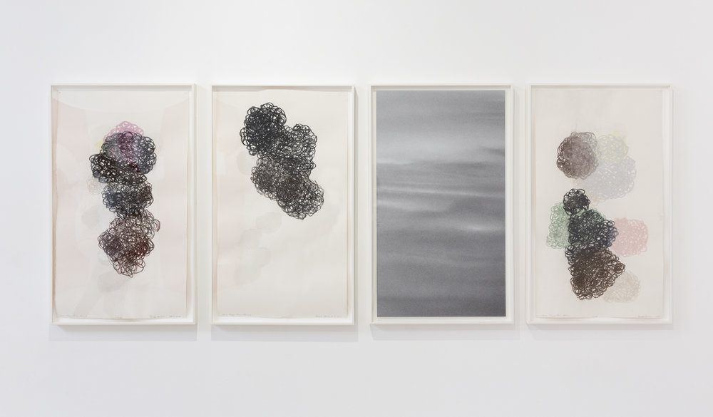 DENISE GREEN  Saar Elegy: From Above  2014 three works on paper and one photograph overall dimensions: 75 × 188 cm