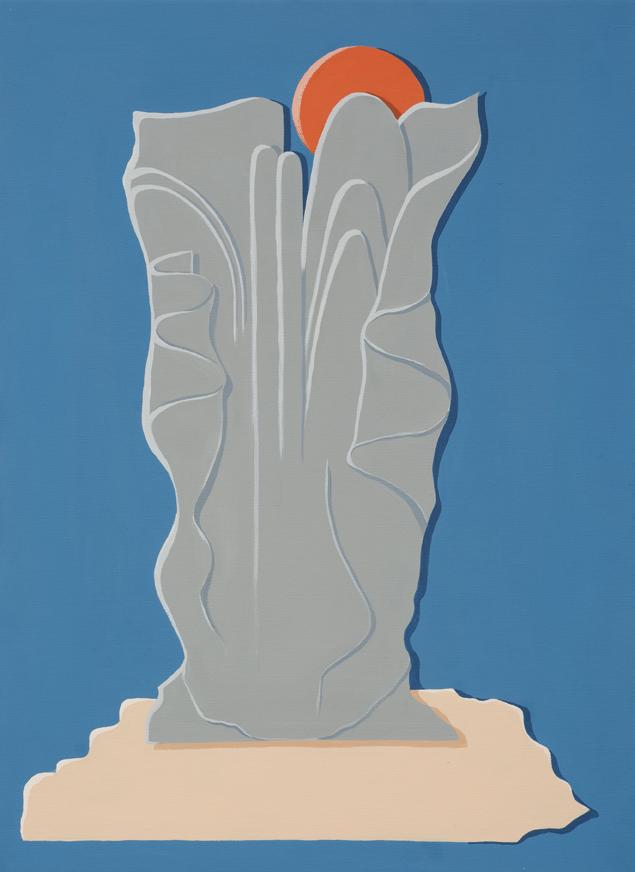 MICHELLE HANLIN  Twilight Relief  2017 vinyl paint on canvas 56 × 41 cm