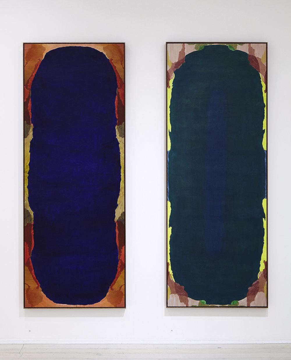 BELEM LETT Portal & Skylight 2015 oil, luminescent pigment on aluminium composite panel 200 ×77 cm each