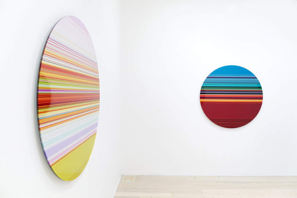 PAUL SNELL  Intersect # 201515 & Intersect # 201502  lambda print face-mounted to 6mm plexiglas 118cm diameter each