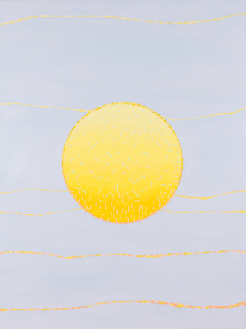 VIV MILLER  Circle sun  2013 oil, enamel and pencil on canvas 80 × 60 cm