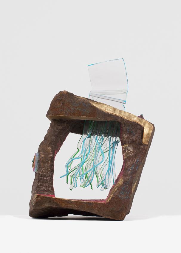 ANDRZEJ ZIELINSKI  Data Recovery?  2016 Australian sandstone, agate, zebra rock, West Australian variscite, river red gum wood, plywood, copper, acrylic and encaustic paint 78 × 66 × 33 cm