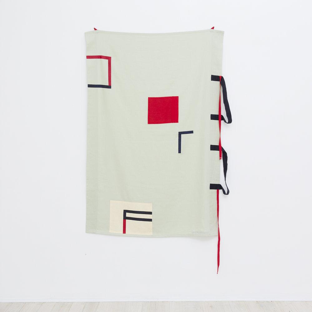 SARAH CROWEST  Taeuber #6  2017 synthetic polymer paint and linen appliquéon cotton canvas 172 × 115 cm