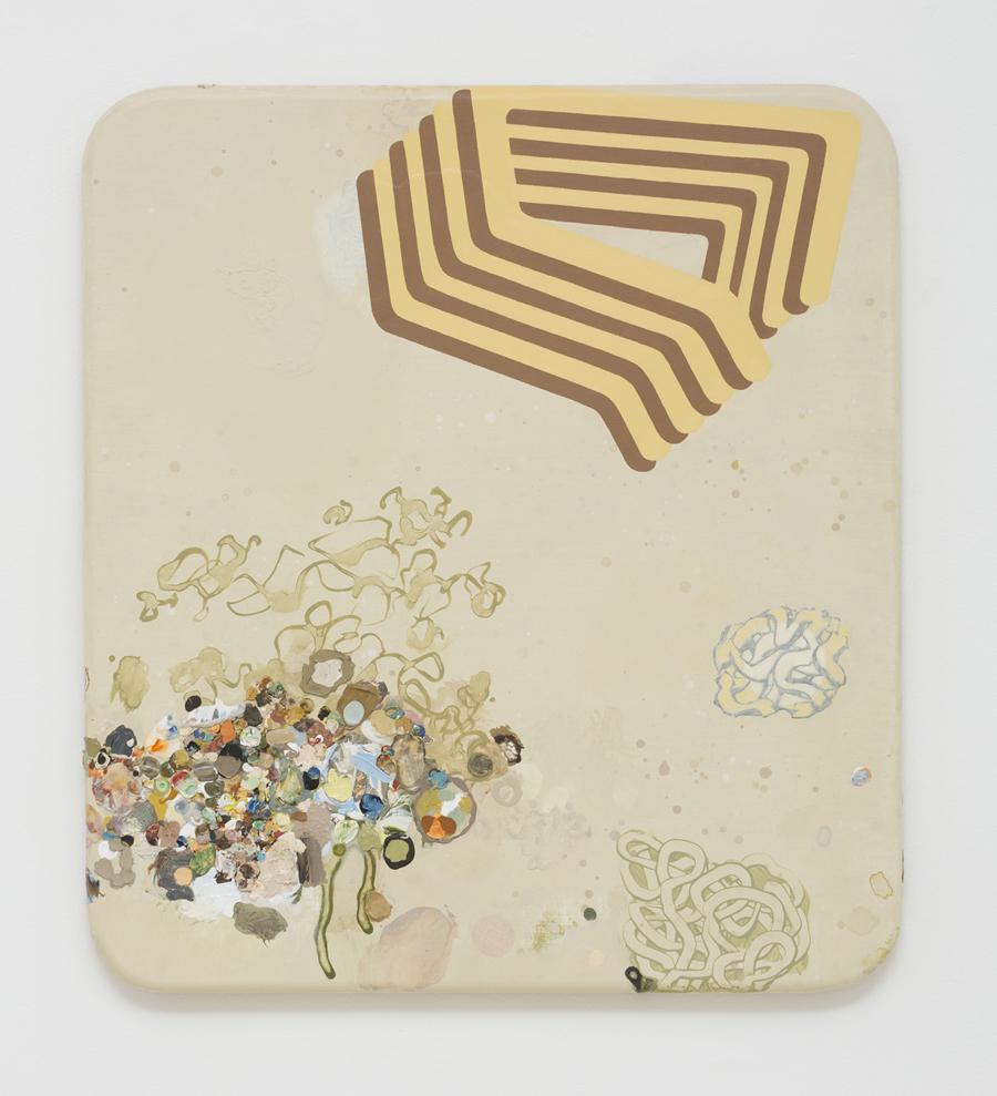 MARK RODDA  Amber Bulwark  2017 acrylic and oil on wood panel 50 × 45 cm