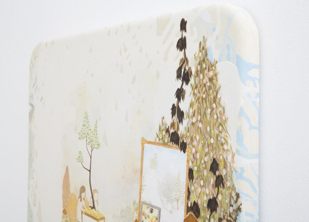 MARK RODDA  The Falconer  (detail) 2017 acrylic and oil on wood panel 50 × 45 cm