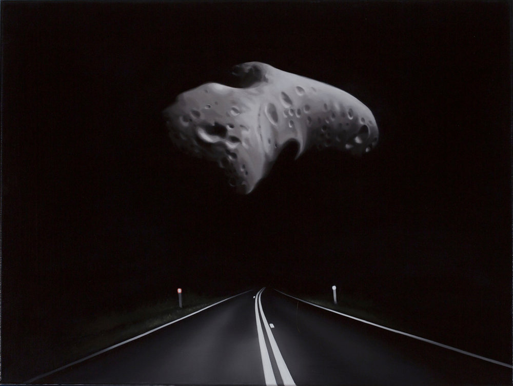 TONY LLOYD  Near Earth asteroid with highway (Eros)  2017 oil on linen 45 × 61 cm