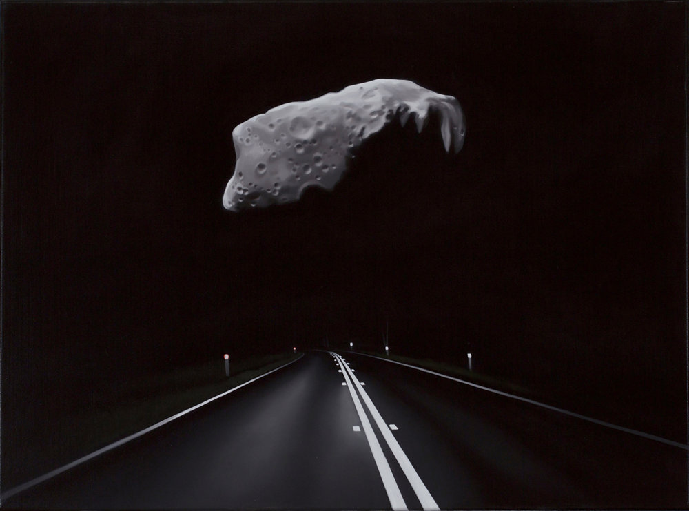 TONY LLOYD  Near Earth asteroid with highway (Ida)  2017 oil on linen 45 × 61 cm