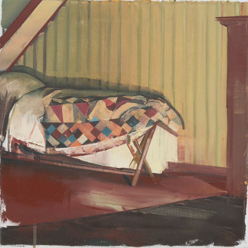 DAVID RALPH Narrow Bed 2017 oil on canvas 40 × 40 cm