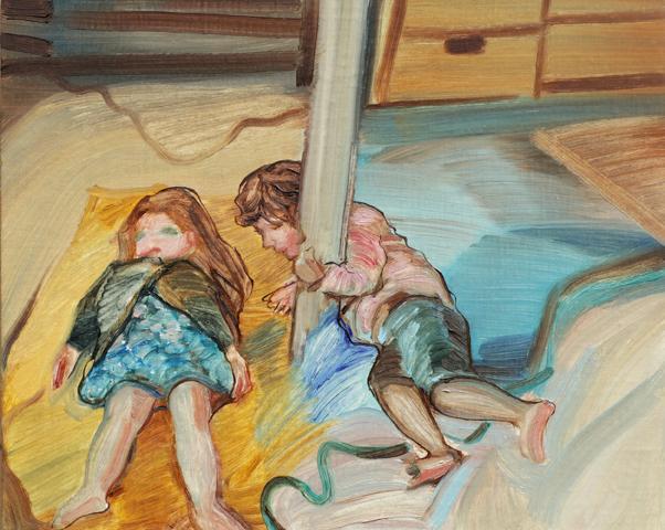 KRISTINA TSOULIS-REAY  Sun Bather  2017  oil on linen board with Vic Ash frame  22 × 27 cm