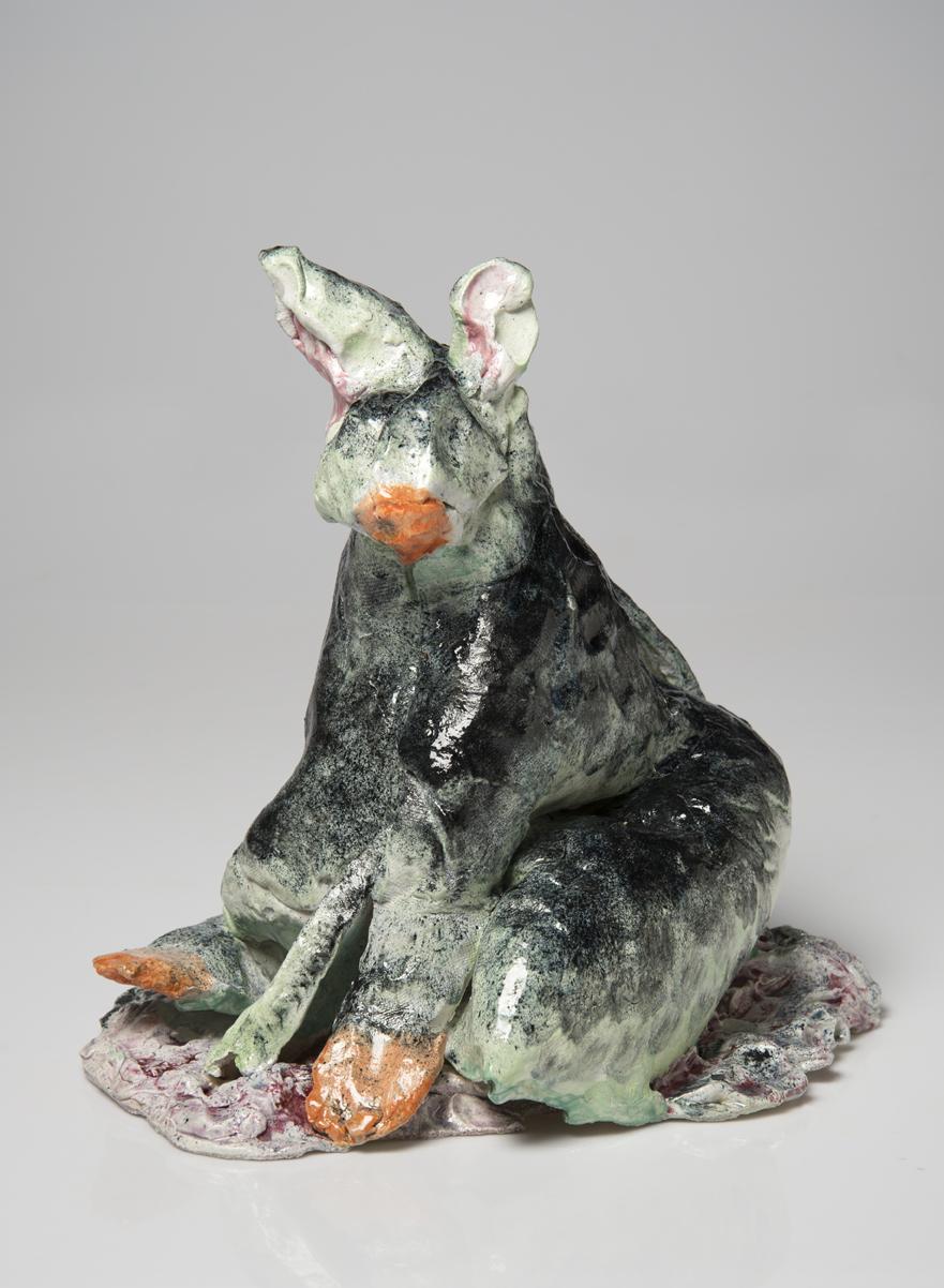 PIE RANKINE  A black wallaby  2015 clay, glaze 40 × 33 × 28 cm