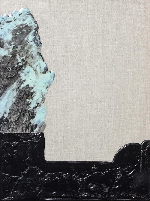 ELOISE KIRK  Cottonwood Canyon  2017 collage, resin, acrylic 35 × 45 cm