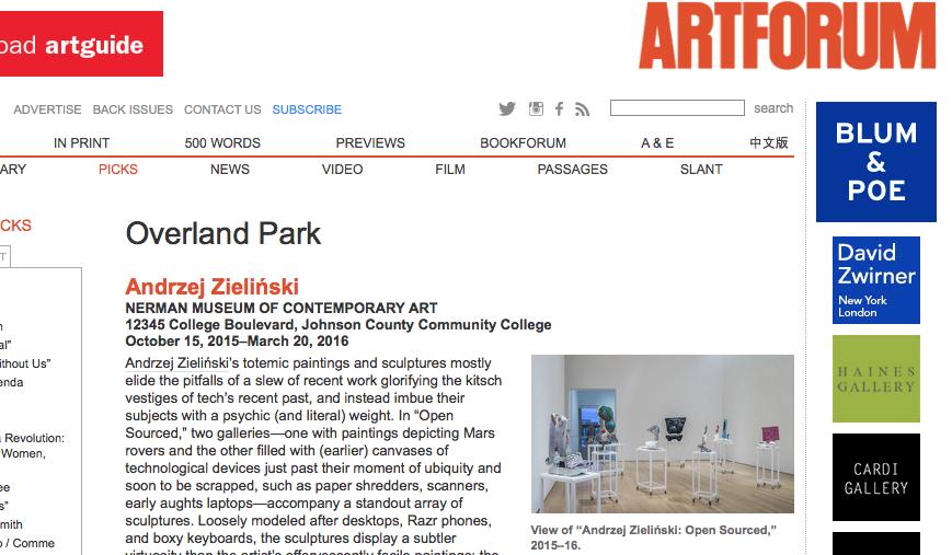 READ ANDRZEJ ZIELINSKI IN ART FORUM 2016