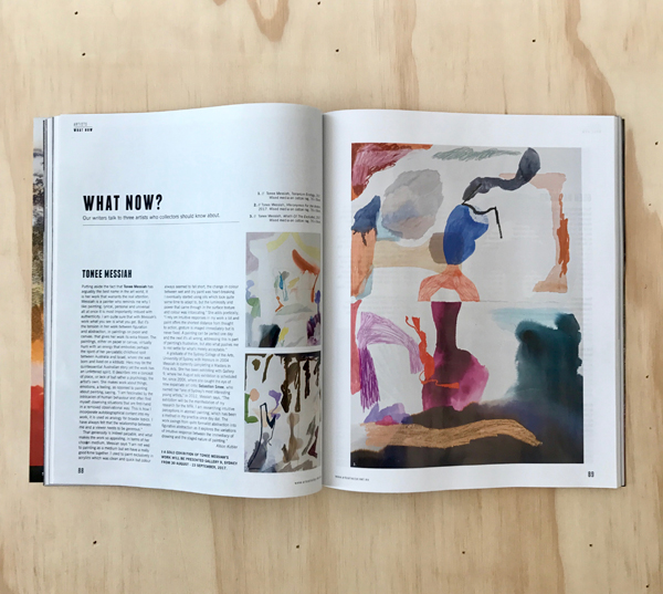 Read Alison Kubler's feature on  TONEE MESSIAH  in issue 81 of  Art Collector  magazine, July–Sept 2017