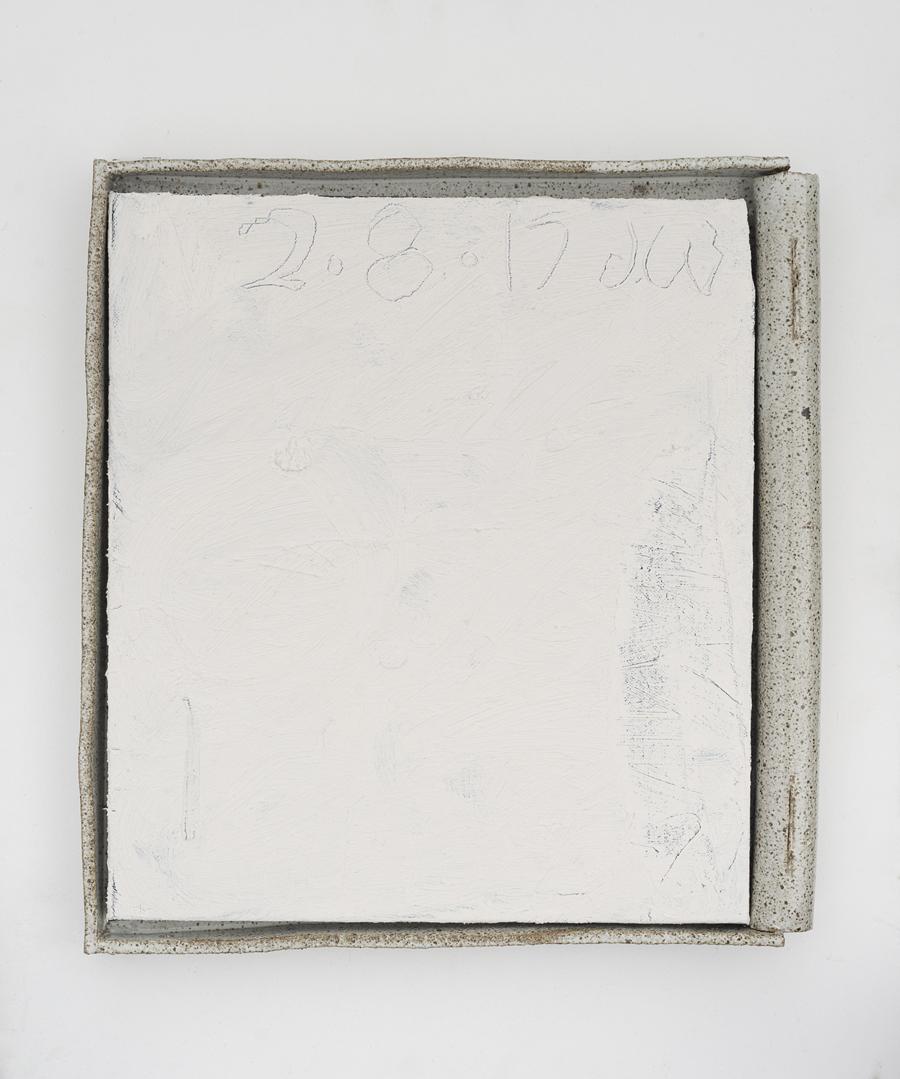 JAKE WALKER  #0047  2016–17 acrylic on linen, glazed stoneware frame 50 ×46 cm