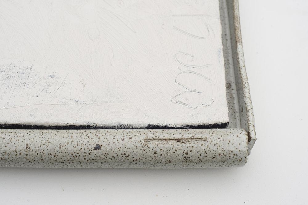 JAKE WALKER  #0047  (detail) acrylic on linen, glazed stoneware frame 50 ×46 cm