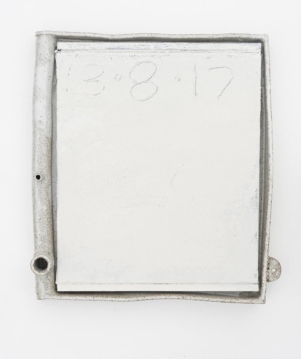 JAKE WALKER  #0051   acrylic on linen, glazed stoneware frame 43 ×47.5 cm