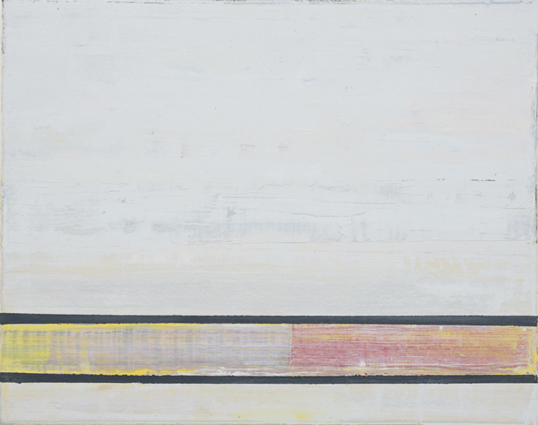 JELLE VAN DEN BERG  Raft  2015 oil on paper on canvas 40.5 × 50.5 cm