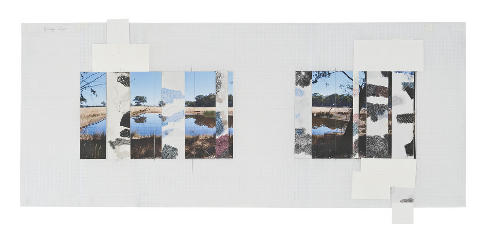 DENISE GREEN  Bendigo: Light  2014 one photograph and seven drawings 43.5 × 104 cm
