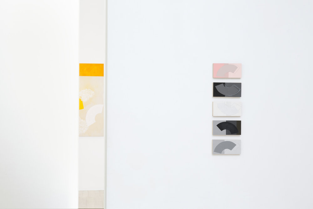 DENISE GREEN  Tints; China Black; Snow; Ultra Moderne; Diabolique  2011-2012 silk screen paper collages on wooden panels 7.5 × 15 cm each