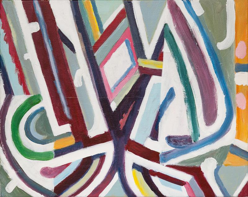 SIMON BLAU Parental Influence 2013 acrylic on canvas in frame 43 × 53 cm
