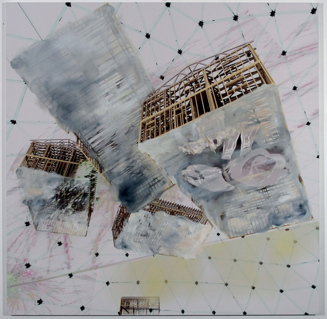 PETER ALWAST  No Place Like Home  2012 oil and solvent print on canvas 153 × 153 cm