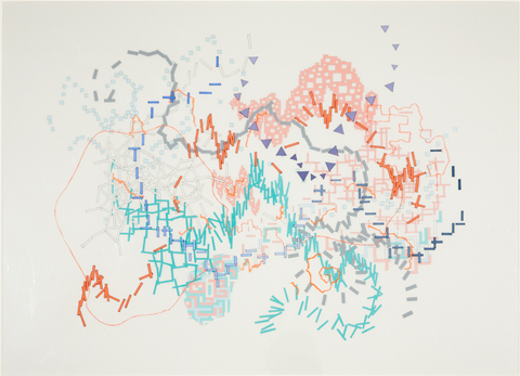 VIV MILLER Entrails 4 2013 gouache, pen and pencil on paper with pen and acrylic on acetate sheets 73.5 ×  92 cm