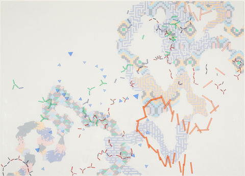 VIV MILLER  Entrails 3  2013 gouache, pen and pencil on paper with pen and acrylic on acetate sheets 73.5 × 92 cm