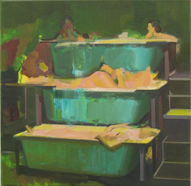 DAVID RALPH  Bimbo Spa  2014 oil on canvas 40 × 40 cm