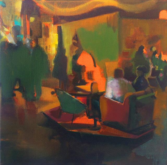DAVID RALPH Bimbo Town 2014 oil on canvas 40 × 40 cm