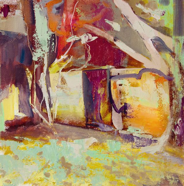 DAVID RALPH Garden Wall 2014 oil on canvas 40 × 40 cm