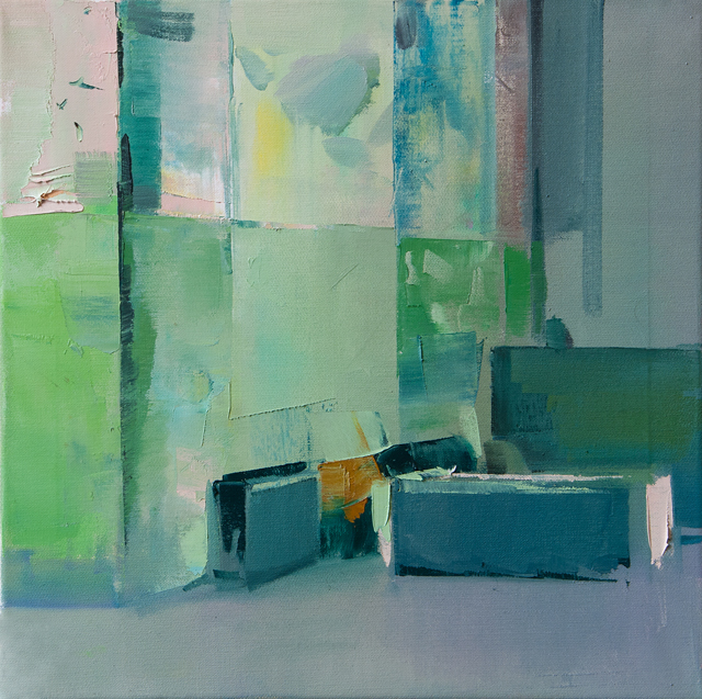DAVID RALPH Lounge 2014 oil on canvas 40 × 40 cm
