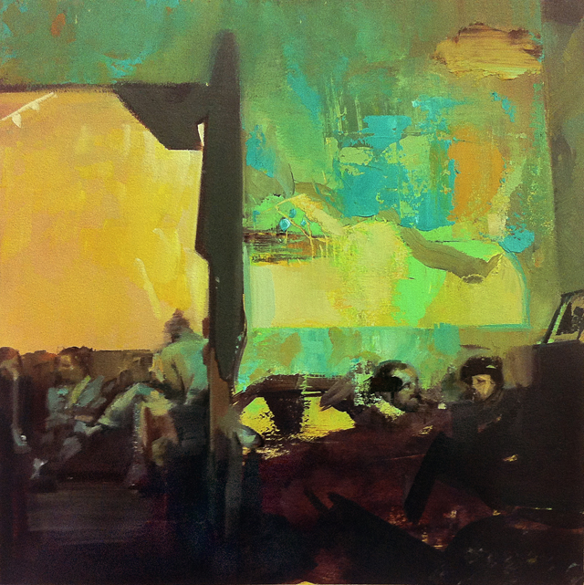 DAVID RALPH The Schreibmaschine Cafe 2 2013 oil on canvas 40 × 40 cm