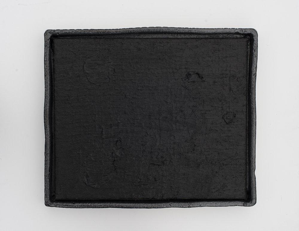 JAKE WALKER #0017 (Dump Trump) 2016–17 oil on canvas, glazed stoneware frame 42 × 50 cm